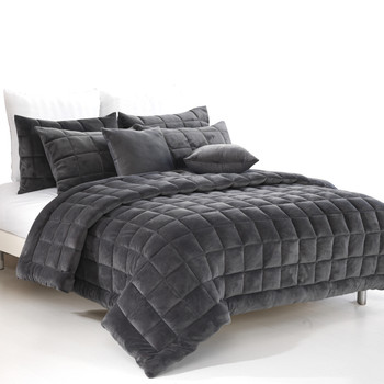 Augusta King Quilt / Coverlet Set - Charcoal