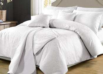 Perle Celeste White Quilt Cover Set