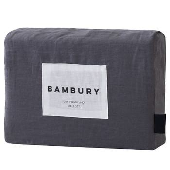 Bambury French Flax Charcoal King Bed Sheet Set