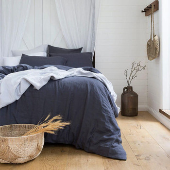 Bambury French Flax Charcoal Quilt Cover Set