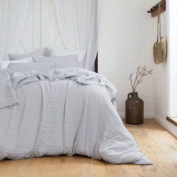 Bambury French Flax Silver Quilt Cover Set
