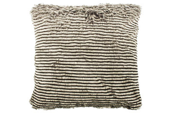 Bambury Stripe Faux Fur Cushion