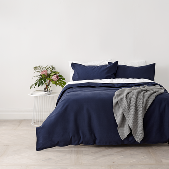 Navy Blue Waffle Weave Quilt Cover Set