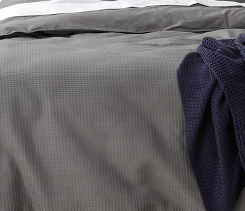 Steel Grey Waffle Quilt Cover Set