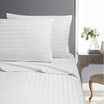 White Self Stripe Sheet Set