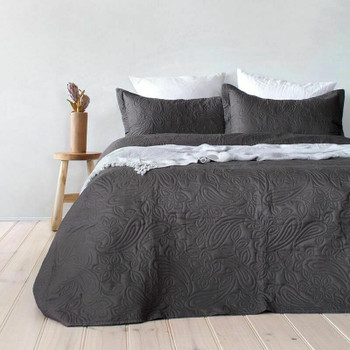 Paisley Charcoal Coverlet