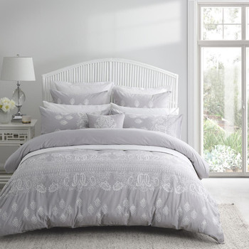 Kamala Silver Quilt Cover Set