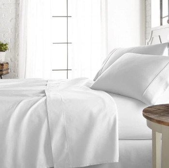 White Supima Cotton 800TC Super King Size Fitted Sheet 204 x 204cm