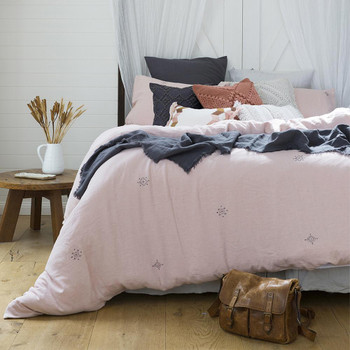 Blush Pink 100% Cotton Ana Quilt Cover Set from Bambury