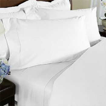 White Super King Size Bamboo Cotton Sheet Set 500TC 203 x 203 Bed Size