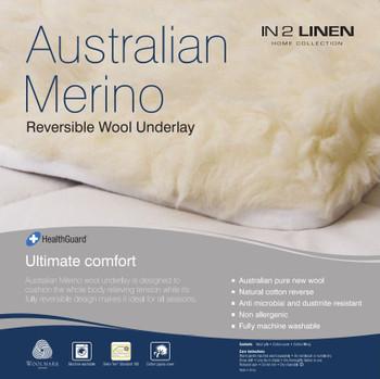 Woollen Underlay Queen Bed Size Australian Merino Wool Reversible