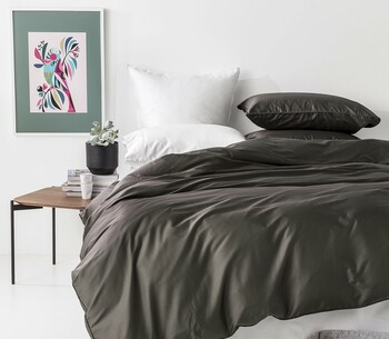 Bamboo Cotton Queen Quilt Cover Set - 500TC In 2 Linen