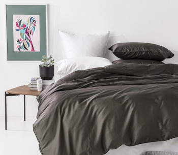 Bamboo Cotton Super King Quilt Cover Set - 500TC In 2 Linen