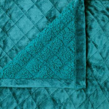 Velvet and Sherpa Super King Size Blanket 480gsm Soft Warm - Teal
