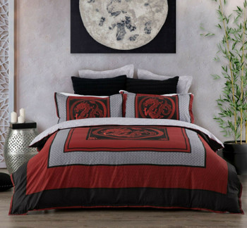 Liang Red Dragon Quilt Cover Set from Logan & Mason