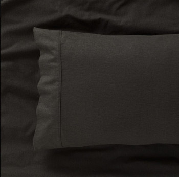Charcoal Super King Flannelette Sheet Set 175gsm Egyptian Cotton for Square 204 x 204cm Bed