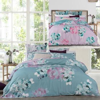 Fleur Mint Quilt Cover Set