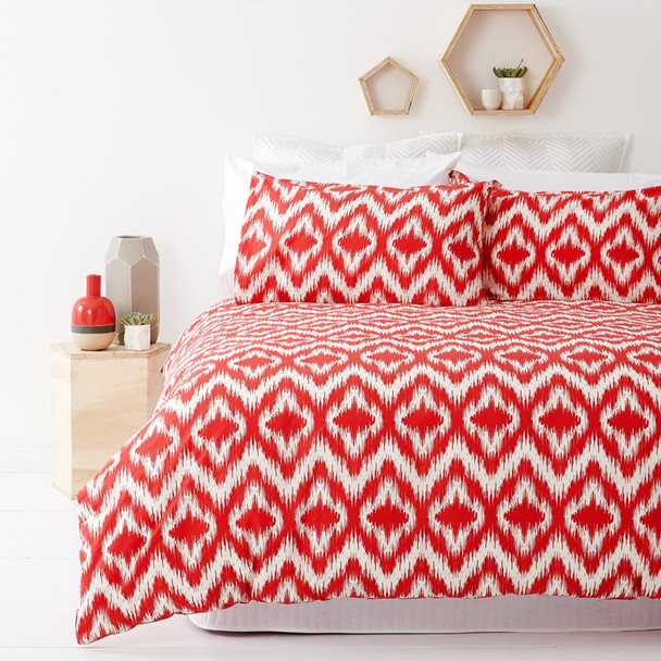 Ikat Red Quilt Cover Set