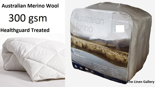 Australian Merino Wool 300gsm Super King Size Washable Quilt
