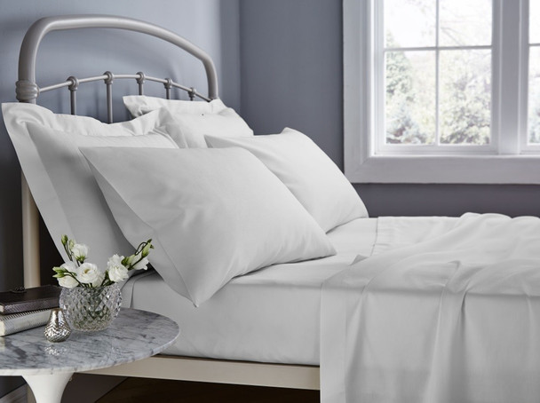 White Super King Fitted Sheet 50cm Deep Wall 500TC Egyptian Cotton