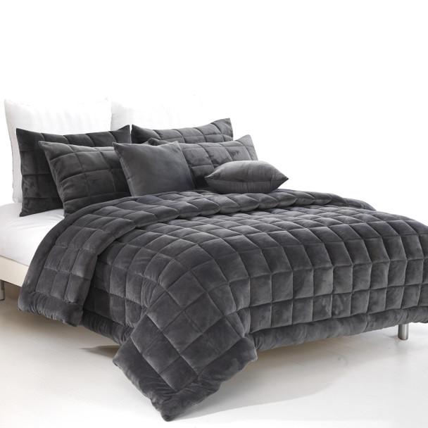Augusta Double Quilt /Coverlet Set - Charcoal