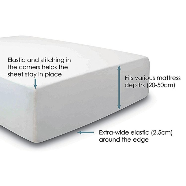 TRU Fit Long Single Fitted Sheet White  For  Mattresses from 20 - 50cm deep