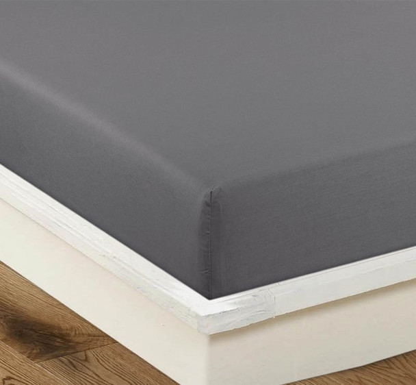 Long Single Charcoal Fitted Sheet