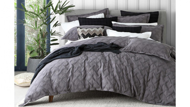 Chiswick Charcoal Quilt Cover Set