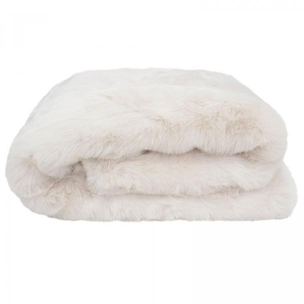 Ivory Faux Fur Throw Rug