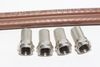 5m of Brown Webro WF100 Twin Satellite Cable With 4 x F Plugs, Free Cable Clips