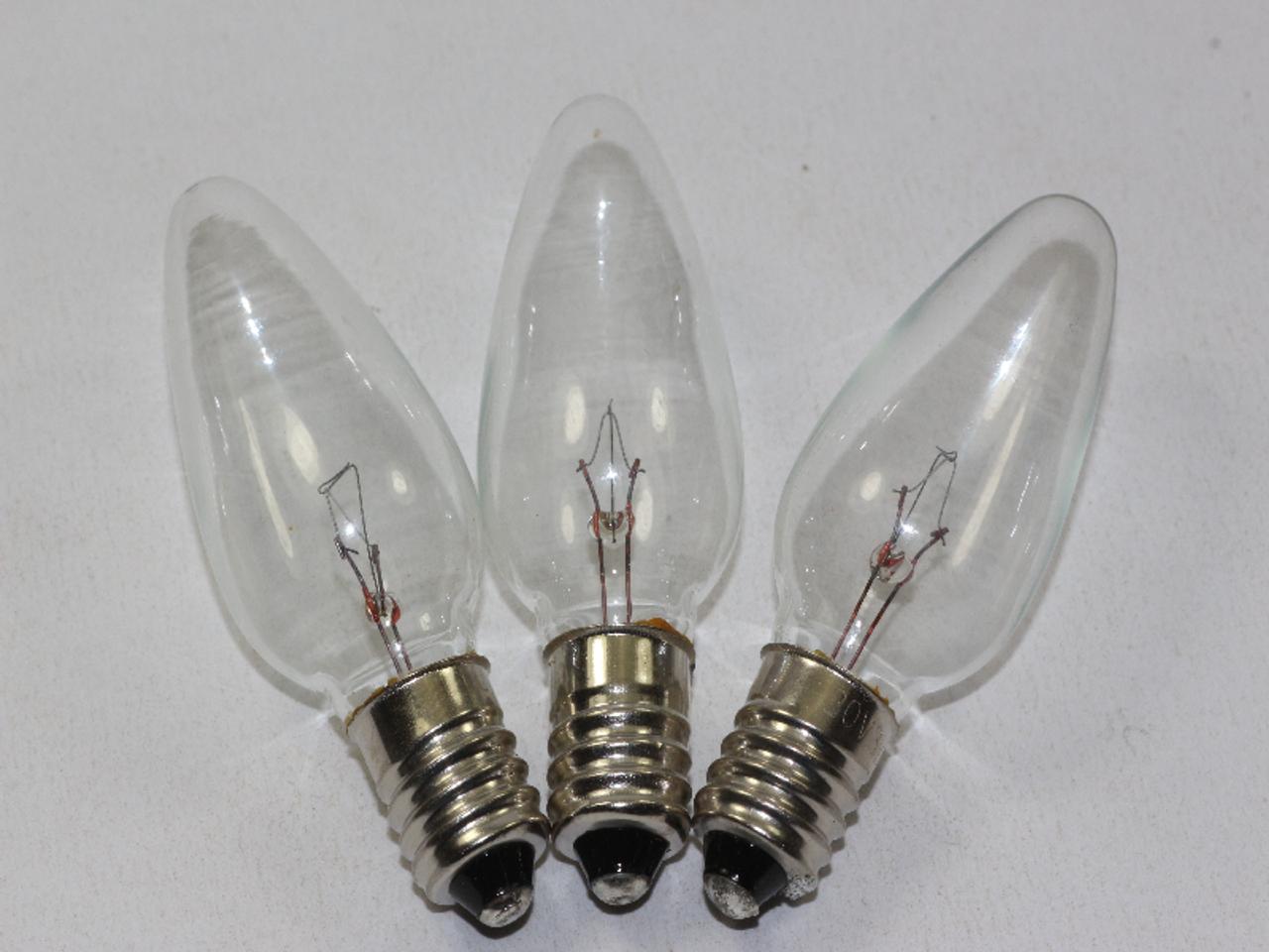 Clear Christmas Lights.3 X 20v 3w 0 15a E10 Clear Christmas Lights Spare Bulbs Pifco Dencon 784wc