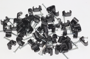 50 x Black Twin Satellite Shotgun Cable Clips, Sky Plus, Sky HD, CB63R, WF65