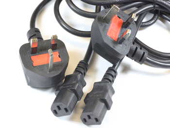 2 x 3 Pin 1.8m UK Black Mains Cable IEC-320 C13 For Televisions, Computers etc