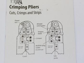Modular Network Connector Crimp Tool Pliers For RJ45 8P8C, Cuts, Crimps & Strips