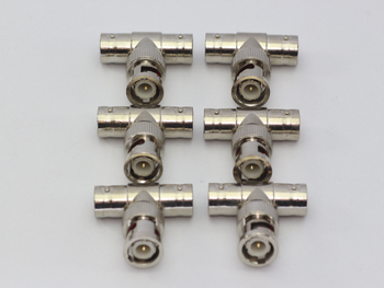 6 x BNC T Piece Adaptor Splitter Connector 2 Female, 1 Male Connections