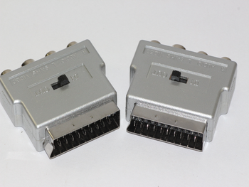 2 x Silver Switched Scart Adpator to RCA Phono Video, & SVHS Input & Output
