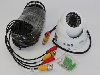 Konig Outdoor Night Vision CCTV Security Dome Camera Kit, IP66, 700 TV Lines