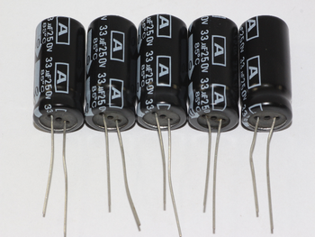 5 x 33uF 250V Radial Electrolytic Capacitors 13mm Diameter, 24.2mm Height