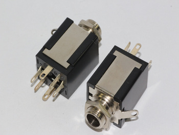 2 x Stereo 1/4 Inch 6.35mm Chassis Mount Switched Jack Socket, Headphone Socket