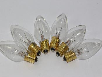 6 x 12V 3W E12 CES Clear Small Conical Christmas Fairy Light Bulb, Pifco, Noma