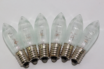 6 Pack Of 34V, 3W, E10, MES Spare Christmas Bulb Lamp For Candle Bridge, Dencon