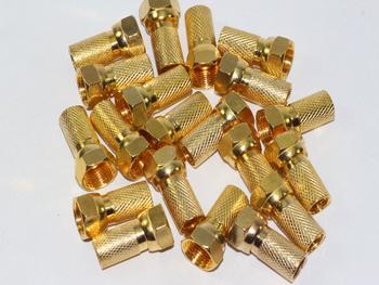 20 x Gold Plated 6.4mm Twist On F Plug Satellite Connector Sky Virgin RG6, WF100