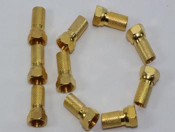 10 x Gold Plated 6.4mm Twist On F Plug Satellite Connector Sky Virgin RG6, WF100