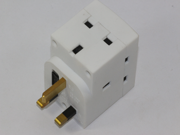 13A 3 Way Urea Fused UK Mains Plug Adaptor from SMJ Fitted With 13A Fuse, 3 Gang