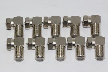 10 x Right Angle / 90 Degrees Satellite Male F Plug Low Profile Adaptor