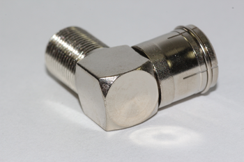 2 x Right Angled F Connector Female Socket to Female Coax TV Aerial Plug - Zinc