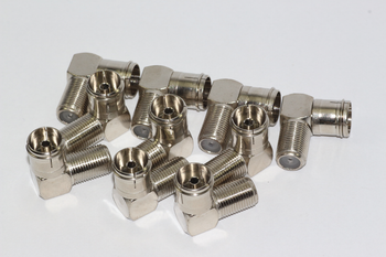 10 x Right Angled F Connector Female Socket to Female Coax TV Aerial Plug - Zinc