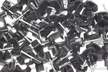 100 x Black 6mm FT&E Flat Cable Clips for Twin Coax Cable Webro WF100, 13mm Wide