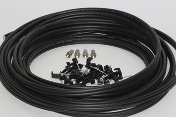 30m of Black Webro WF100 Twin Satellite Cable With 4 x F Plugs, Free Cable Clips
