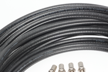 20m of Black Webro WF100 Twin Satellite Cable With 4 x F Plugs, Free Cable Clips